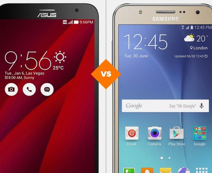 Zenfone 2 ou Galaxy J7: celulares têm ficha técnica boa e preço médio (Foto: Arte/TechTudo)