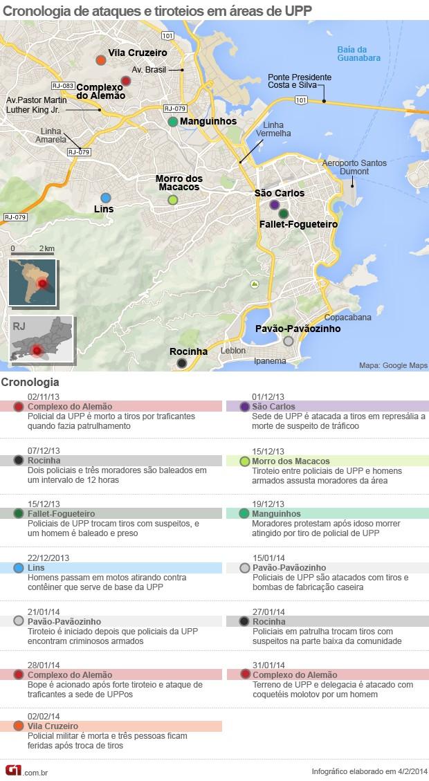 mapa rio mortos arte UPP UPPs (Foto: Editoria de Arte / G1)