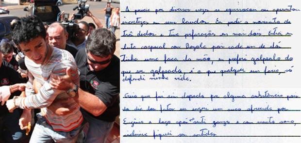 Em montagem, acusado do crime é preso; ao lado, trechos de entrevista ao G1 (Foto: F.L.Piton/ A Cidade/AE)