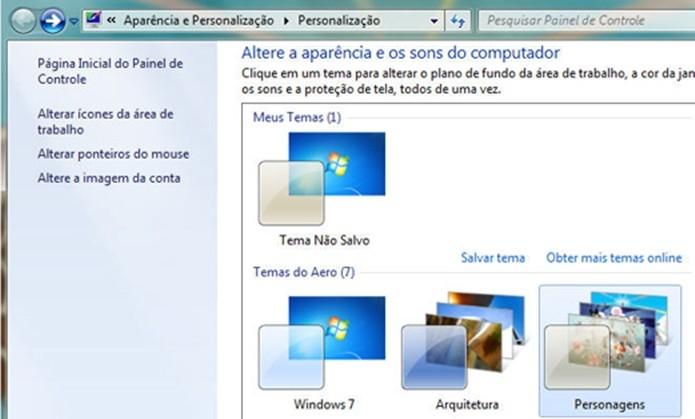 Windows 7 permite criar, alterar e compartilhar temas (Foto: Divulgação/Microsoft)