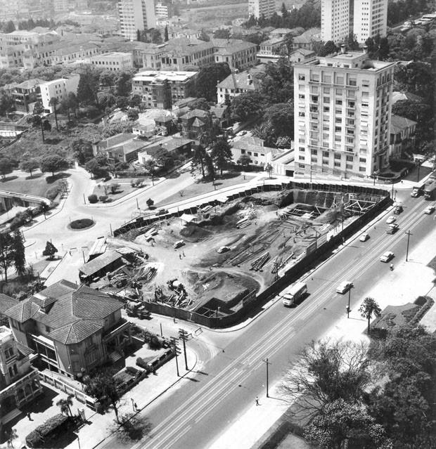 Construção do MASP, década de 1950 (Foto: Divulgação)