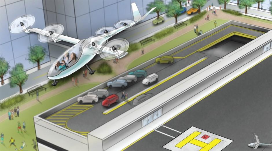 Esboço do Uber Elevate. A Embraer está trabalhando em conjunto com o app de mobilidade (Foto: Divulgação)