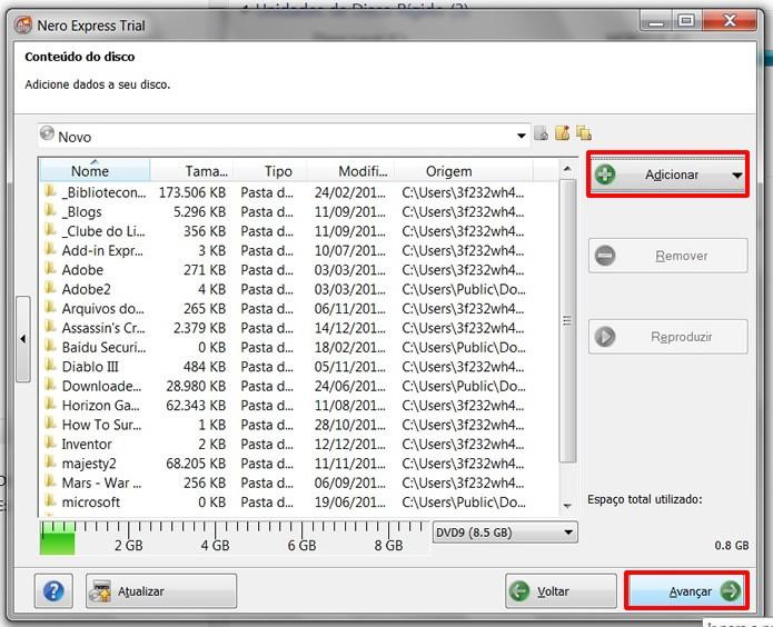 Indique os arquivos que serão gravado em Adicionar e prossiga para a etapa de gravação (Foto: Reprodução/Daniel Ribeiro)