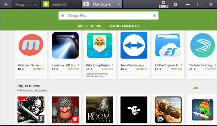 Nos três emuladores é possível baixar qualquer app ou jogo via Play Store (Foto: Reprodução/Paulo Alves)