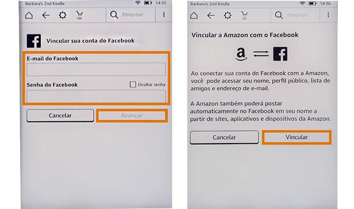Inicie o compartilhamento pelo Facebook se preferir adicionando a conta (Foto: Reprodução/Barbara Mannara)