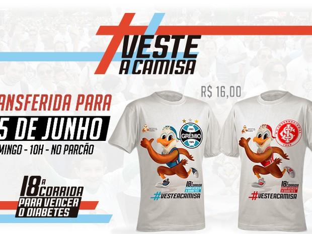 O participante pode escolher entre a camiseta com símbolo do Inter ou do Grêmio (Foto: Divulgação/ICD-RS)