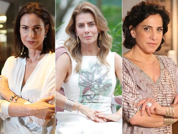 Úrsula, Kitty e Adriana podem ser a mãe de Laura (Foto: Carol Caminha e Artur Meninea/ Gshow)