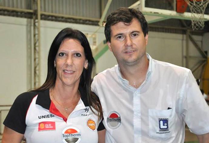 Christi Ane e Flávio Prado: dupla iniciou o projeto de basquete em Presidente Venceslau (Foto: Christi Ane Hammerschmidt / Cedida)