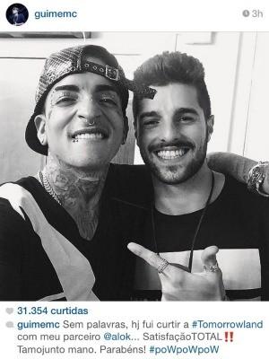 Momentos antes do show, Guimê postou foto em festa de música eletrônica, em São Paulo (Foto: Reprodução/Instagram)