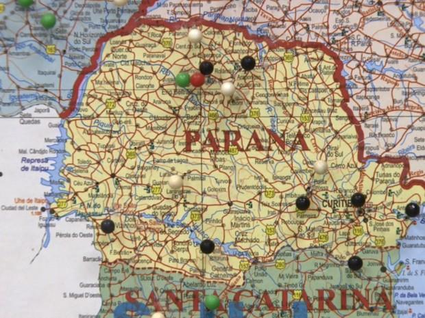 Mapa do Gaeco mostra pontos em que o grupo agia. (Foto: RPC TV Maringá/Reprodução)