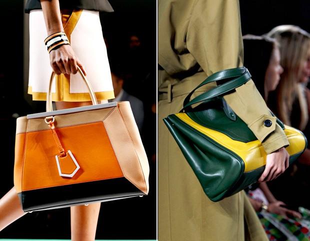 Em blocos de cores foram os modelos da Fendi e Derek Lam (Foto: Reprodução)