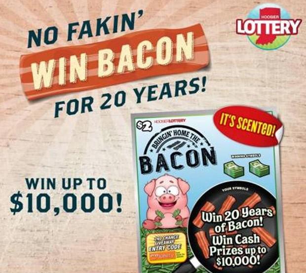 Apostador pode ganhar fornecimento de bacon por 20 anos (Foto: Hoosier Lottery's)