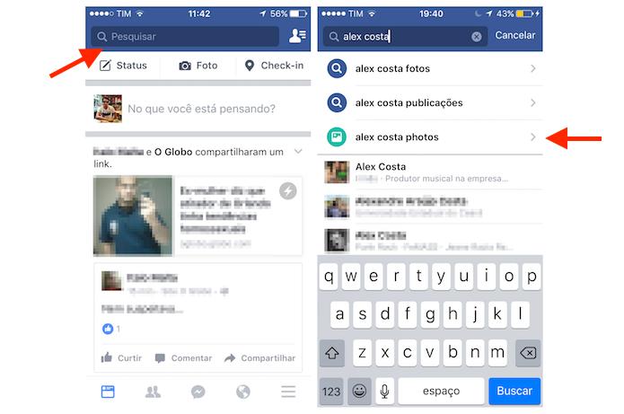 Buscando por fotos de um amigo do Facebook pela pesquisa do aplicativo da rede social para iPhone (Foto: Reprodução/Marvin Costa)