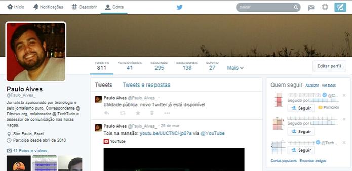 Novo perfil do Twitter traz fotos maiores e design que lembra Facebook  (Foto:  Reprodução/Paulo Alves)