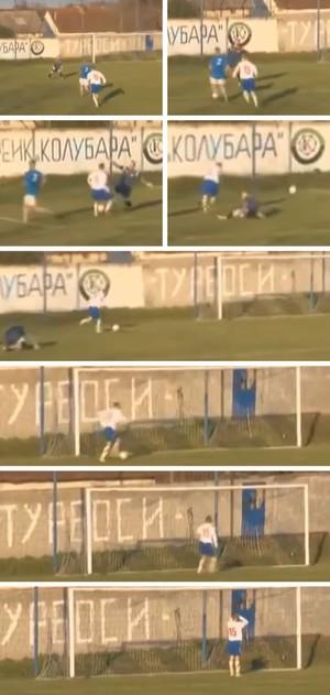MONTAGEM gol imperdível sérvia (Foto: Editoria de Arte)