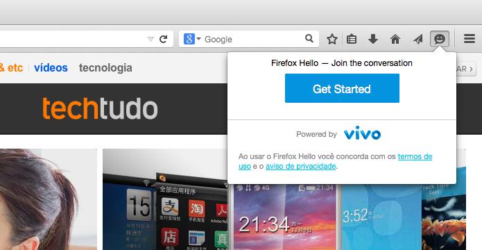Iniciando o Firefox Hello pela primeira vez (Foto: Reprodução/Helito Bijora)