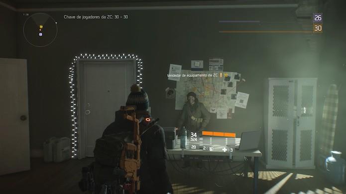 The Division: locais seguros da Zona Cega têm vendedores de armas e equipamentos (Foto: Reprodução/Victor Teixeira)