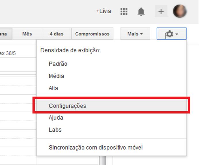 Atalho para as configurações do Google Agenda (Foto: Reprodução/Lívia Dâmaso)