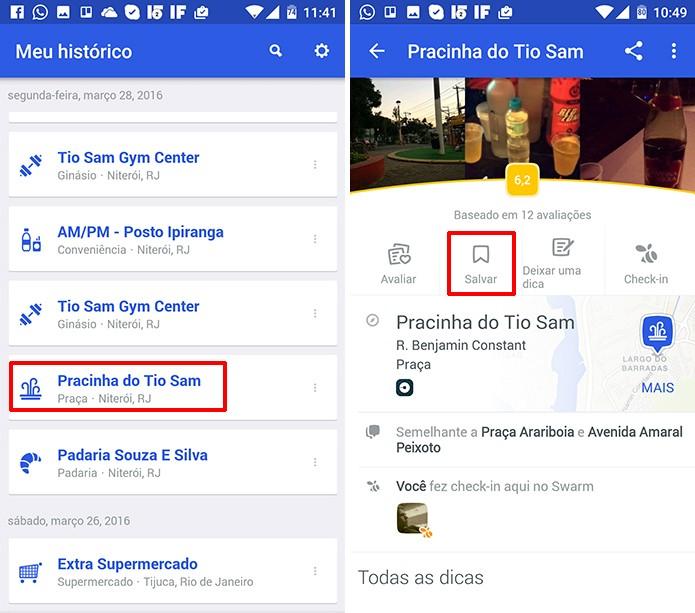 Usuário pode salvar localização do histórico do Foursquare em uma lista (Foto: Reprodução/Elson de Souza)