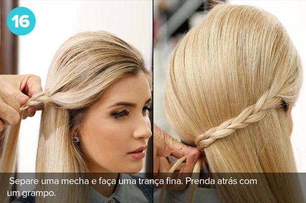 Separe uma mecha na frente e faça uma trança solta. Para finalizar o penteado, prenda parte do cabelo com a trança e grampos (Foto: Marcos Serra Lima/EGO)