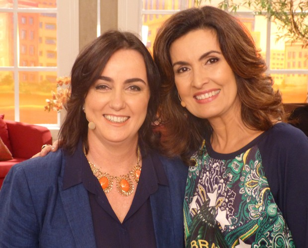 Fátima Bernardes recebe Denise Hils, do Itaú, no Encontro (Foto: Encontro Com Fátima/TV Globo)