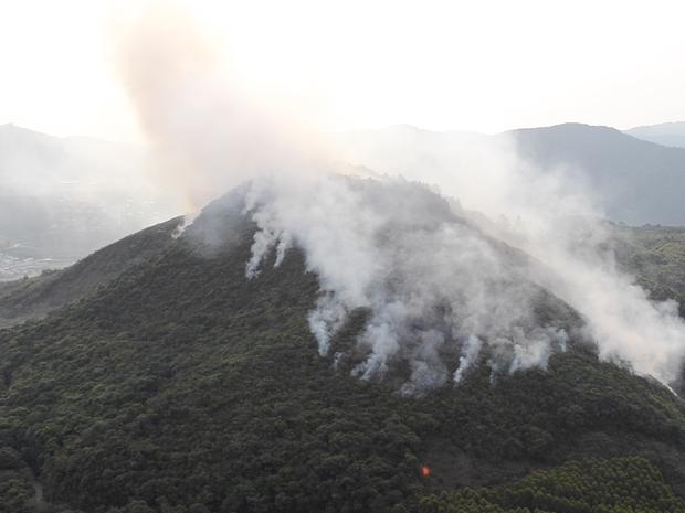 Incêndio atingiu ao menos 15 hectares da Serra de São Domingos, em Poços de Caldas (Foto: TV Plan)