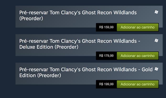 Ghost Recon: Wildlands: escolha uma das três versões disponíveis no PC (Foto: Reprodução/Victor Teixeira)