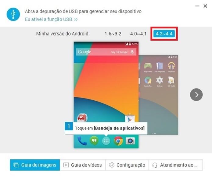 Opção com grupo de versão do Android destacado em vermelho (Foto: Reprodução/ Raquel Freire)