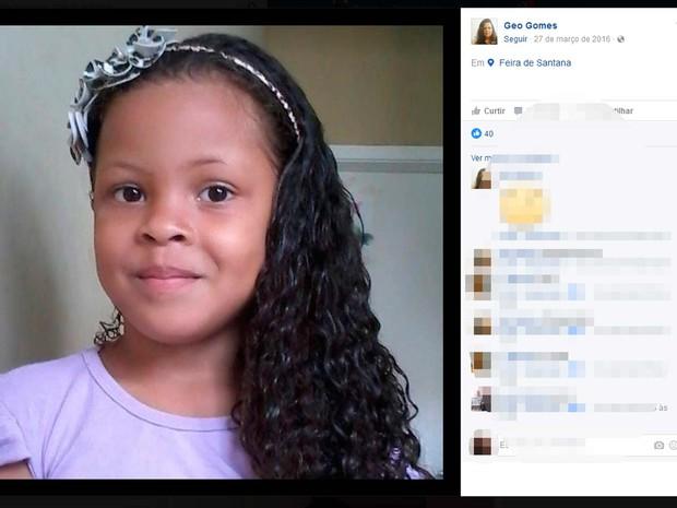 Gabrielly Gomes de 7 anos está desaparecida na Bahia (Foto: Reprodução/Facebook)