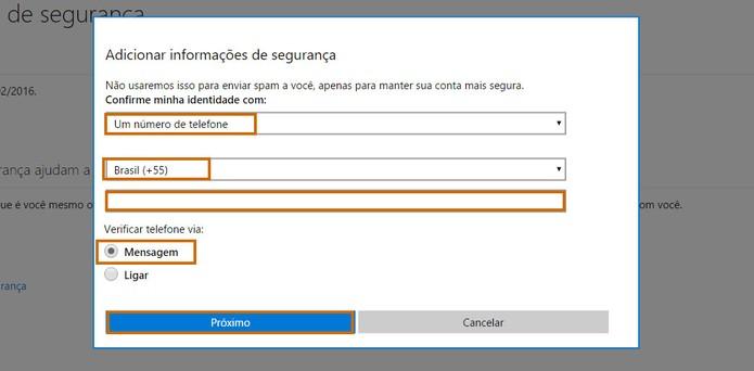 Adicione o seu número de celular no Outlook.com (Foto: Reprodução/Barbara Mannara)