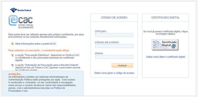 Página de acesso do e-CAC  (Foto: Divulgação/Receita Federal)
