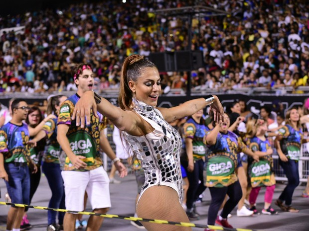 Mari Gonzalez no sambódromo do Anhembi, em São Paulo (Foto: Leo Franco/ Ag. News)