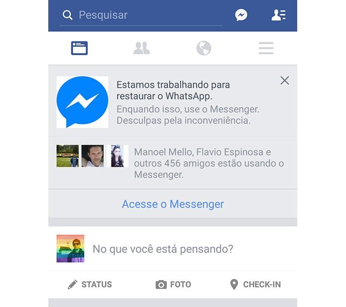 Facebook incentiva usuários a migrarem para Messenger enquanto o WhatsApp não volta (Foto: Reprodução/Elson de Souza)