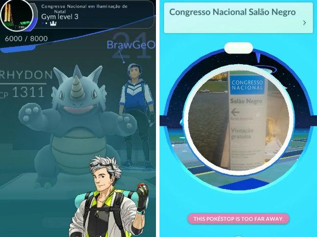 Jogo de realidade aumentada Pokémon GO indica ginásio e pokéstop no Congresso Nacional (Foto: Niantic/Reprodução)