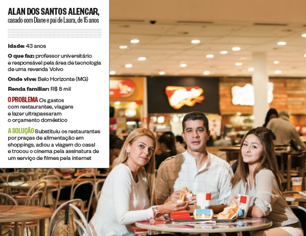 NO SHOPPING Alan Alencar com a mulher, Diane, e a filha, Laura. Em vez de restaurantes, fast-food. Em vez de cinema, TV pela internet (Foto: Rafael Motta/NITRO/ÉPOCA)