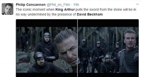 Uma das críticas à participação de David Beckham em Rei Arthur (Foto: Twitter)