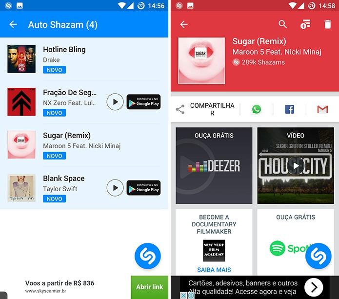 Shazam mostrará lista com músicas mais recentes no topo (Foto: Reprodução/Elson de Souza)