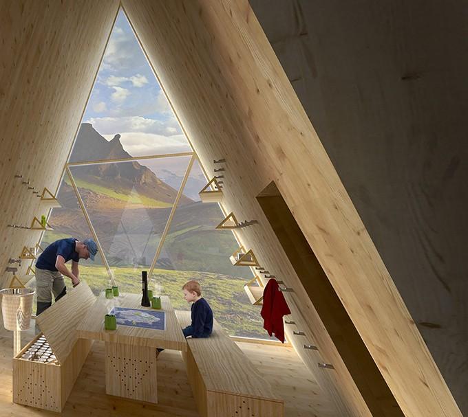 Tecnológico e geométrico abrigo ficará no topo de montanhas (Foto: Divulgação)