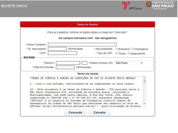 O interessado tem que fornecer seus dados pessoais, que incluem RG, CPF e CEP (Foto: Reprodução/SPTrans)
