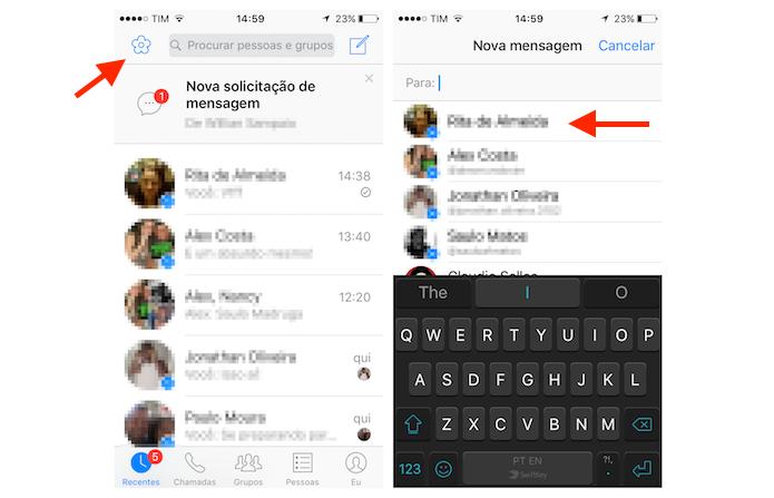 Iniciando uma nova conversa no Facebook Messenger para enviar mensagens com flores no iPhone (Foto: Reprodução/Marvin Costa)
