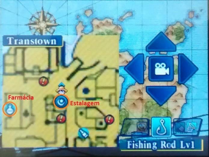 Minimapa de One Piece mostrando distância entre a Farmácia e a Estalagem de Transtown (Foto: Reprodução/Paulo Vasconcellos)