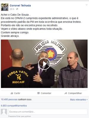 O vereador Coronel Telhada (PSDB) postou vídeo no Facebook no qual entrevista com cabo que atirou em dois adolescentes suspeitos de roubar moto  (Foto: Reprodução / Facebook)