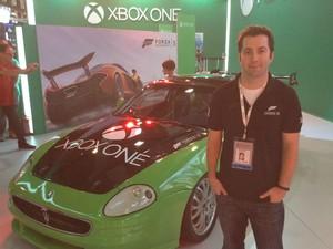 Chris Bishop, diretor de marketing de 'Forza 5', veio a São Paulo para a BGS 2013 (Foto: Bruno Araujo/G1)