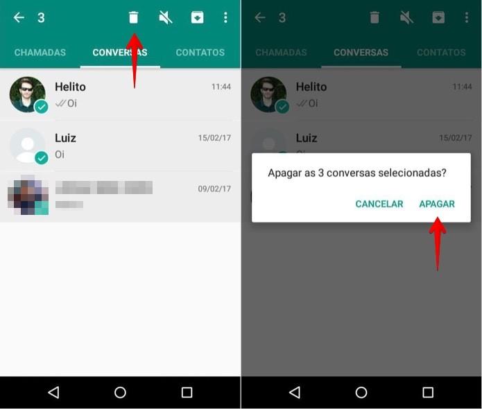Apagando várias conversas de uma vez Android (Foto: Reprodução/Helito Bijora)