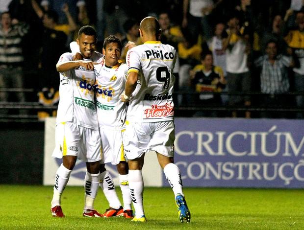João Vitor gol Criciúma contra o Santos (Foto: Fernando Ribeiro / Futura Press)