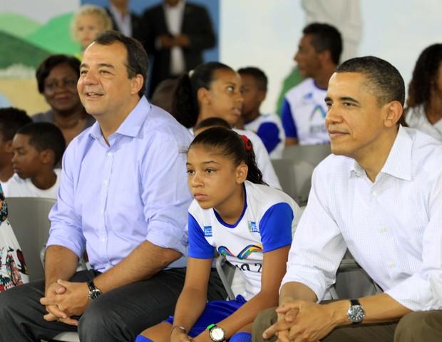 Sérgio Cabral e Barack Obama no Rio de Janeiro, em 2011 (Foto: reprodução/estado do rio)
