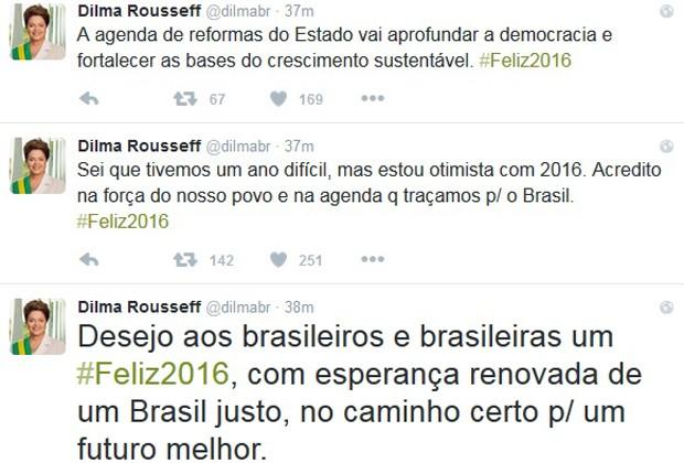Publicação de fim de ano da presidente Dilma Rousseff no Twitter (Foto: Reprodução / Twitter)