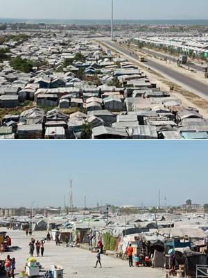 Campo de deslocados Jean Marie Vincent, na periferia de Porto Príncipe, para onde foram levados muitos haitianos que perderam suas casas durante o terremoto de 2010 (Foto: Renato Machado/G1)