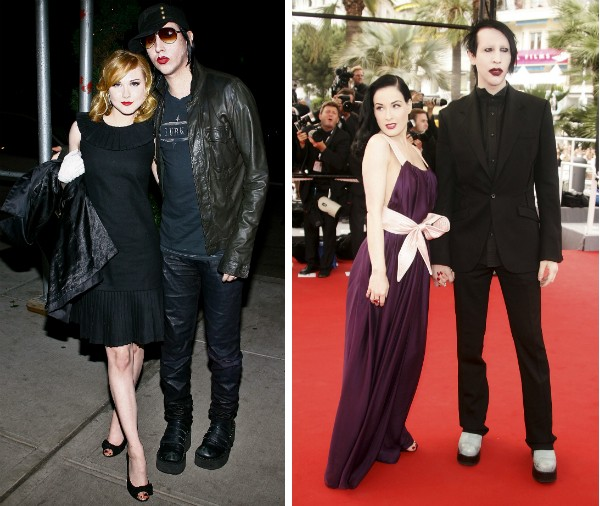 O cantor Marylin Manson com Evan Rachel Wood e Dita Von Teese (Foto: Getty Images)
