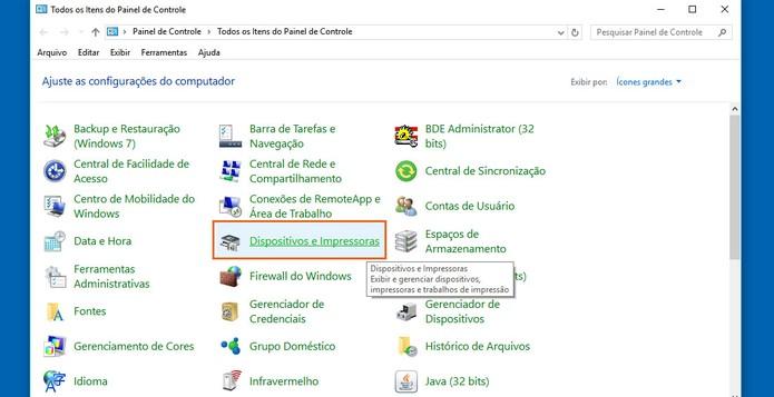 Clique na opção de Dispositivos e Impressoras no Windows 10 (Foto: Reprodução/Barbara Mannara)
